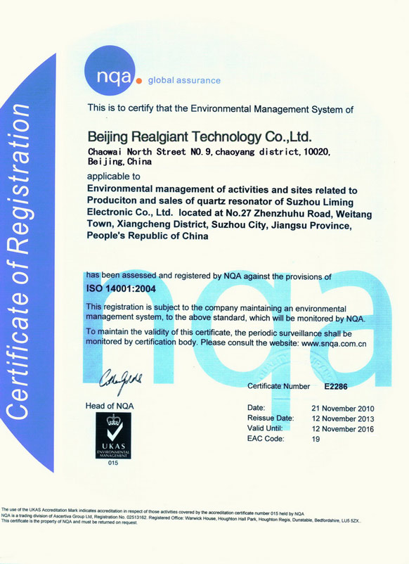Realgiant Certificate: ISO 14001